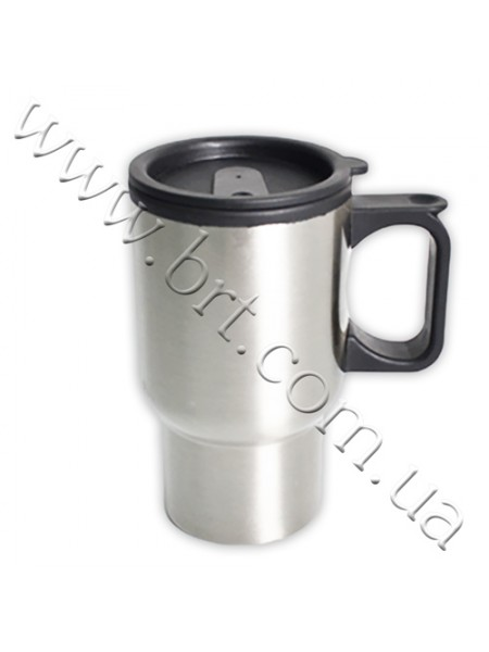 Чашка-термос срібляста з квадратною ручкою, 370 мл