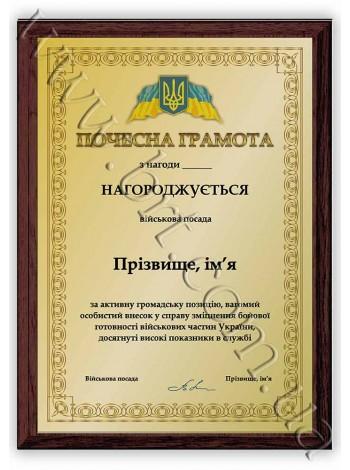 Нагородний диплом військовослужбовцю