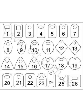 Номерки для гардероба з цифрами, гравіювання по контуру