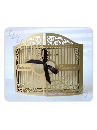 Весільне запрошення з висічкою, кільця