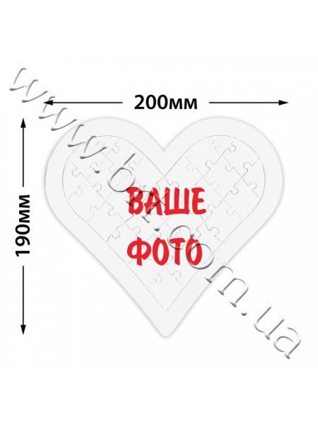 Пазли з фотографією Серце в рамці 20*19 см, 27 елементів