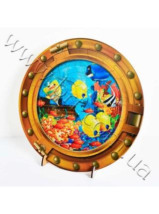 Пазл із дерева Водний світ з деталями у формі морських тварин, з рамкою