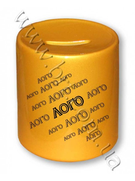Копилка золотая с принтом