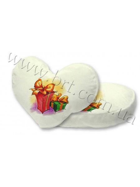 Подушка з велюру серце з принтом