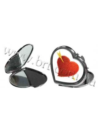 Дзеркальце у формі серця з принтом